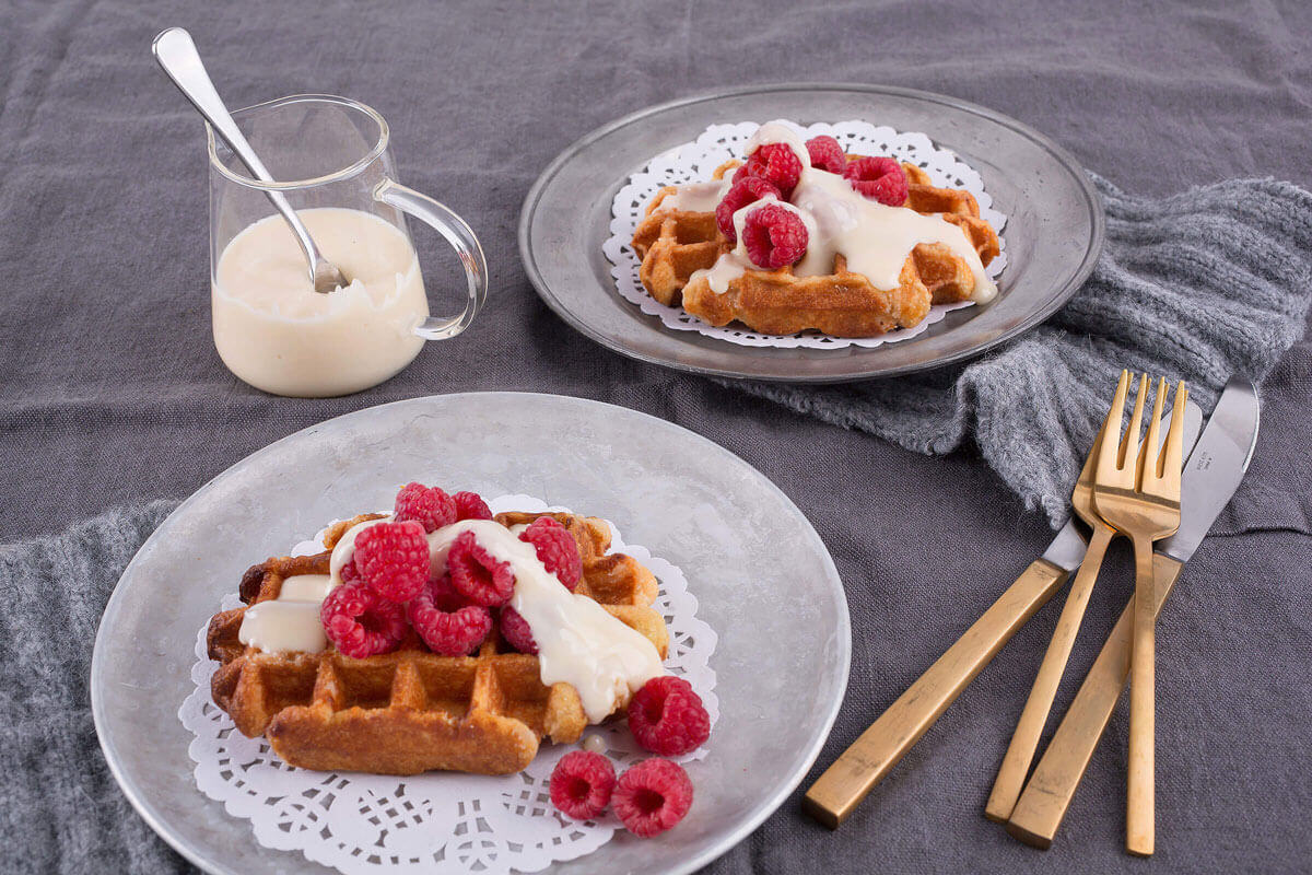 White Chocolate and Raspberry Waffles